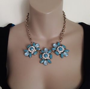 Blue Floral Statement Necklace